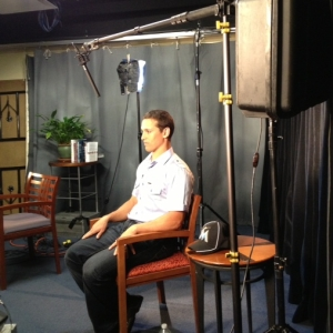 Adam Greenberg, whose career was cut short by a pitch to the head, taping an interview for the NBC Evening News.