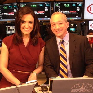 Client Larry Glazer with Michelle Caruso-Cabrera for CNBC's Closing Bell at the Stock Exchange in New York