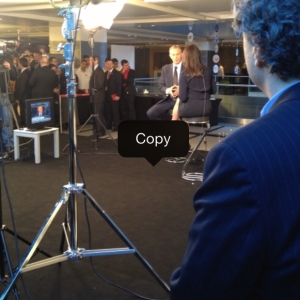 On the scene as fmr British PM Tony Blair is interviewed